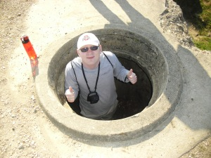 Me in an anti-aircraft gun pit. Trust me, I had to struggle to get in there.
