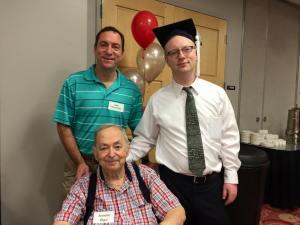 Me, my grandfather Seymour Ungar, and my dad Rabbi Michael Ungar at the English Graduation Breakfast.